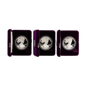 1986-1988 1oz American Silver Eagle Proof Coins with