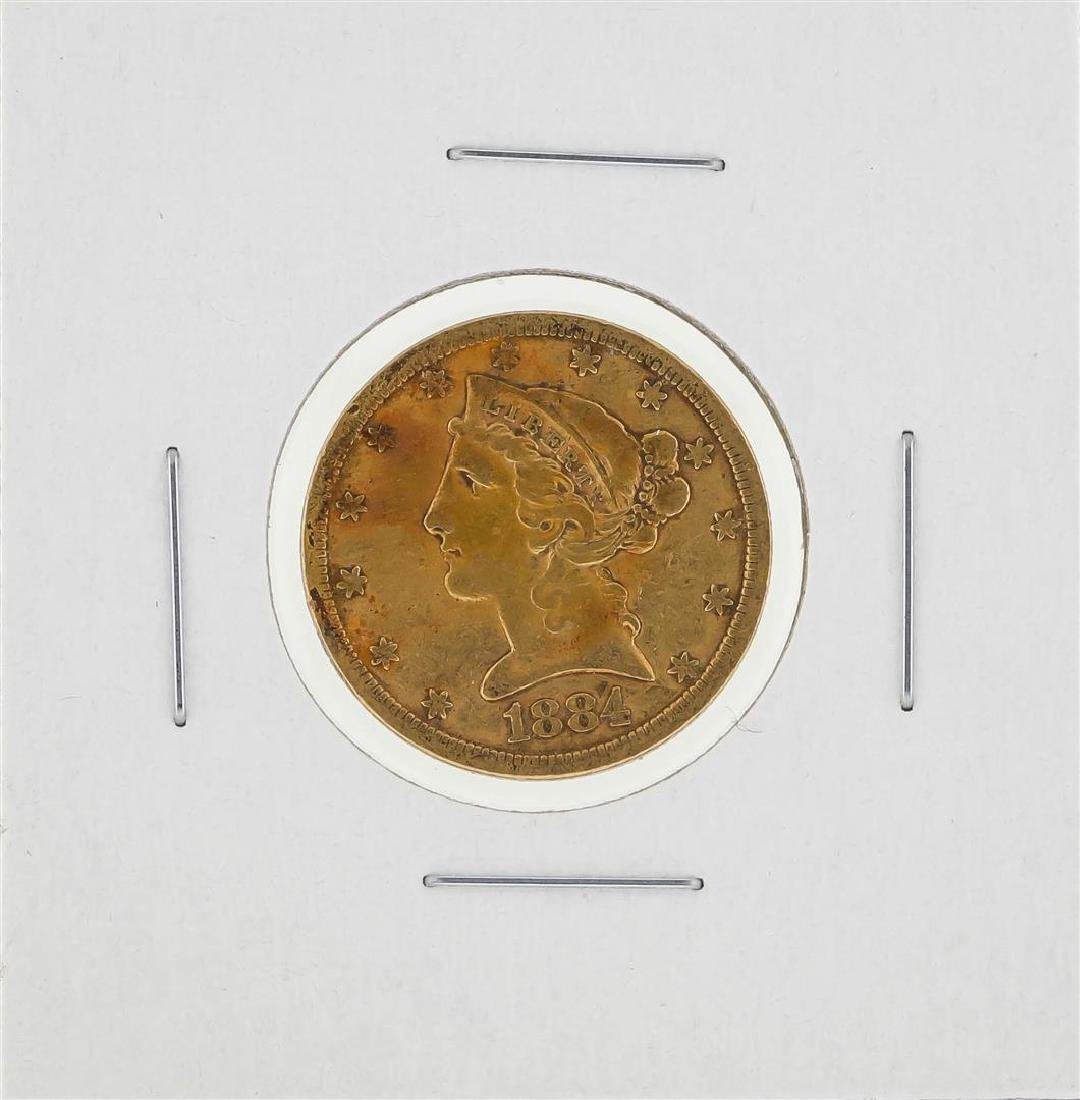 1884-S $5 Liberty Head Half Eagle Gold Coin