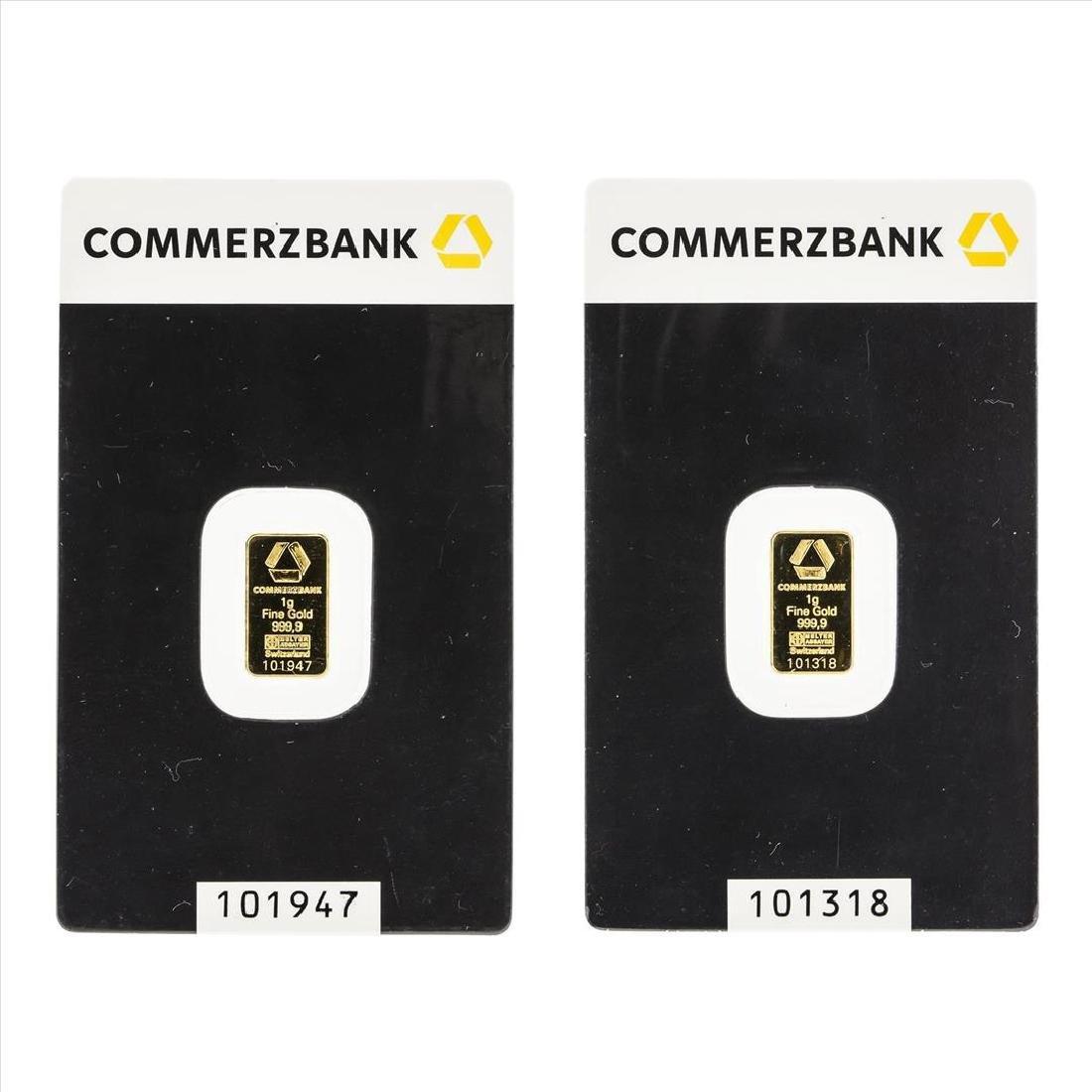 Lot of (2) Commerzbank 1 gram .9999 Gold Bars