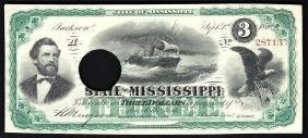 1870 $3 State of Mississippi Obsolete Bank Note