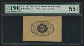 5 Cent First Issue Fractional Currency Note Wide