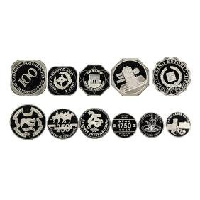 Set of (11) Assorted World Famous Silver Casino Chips