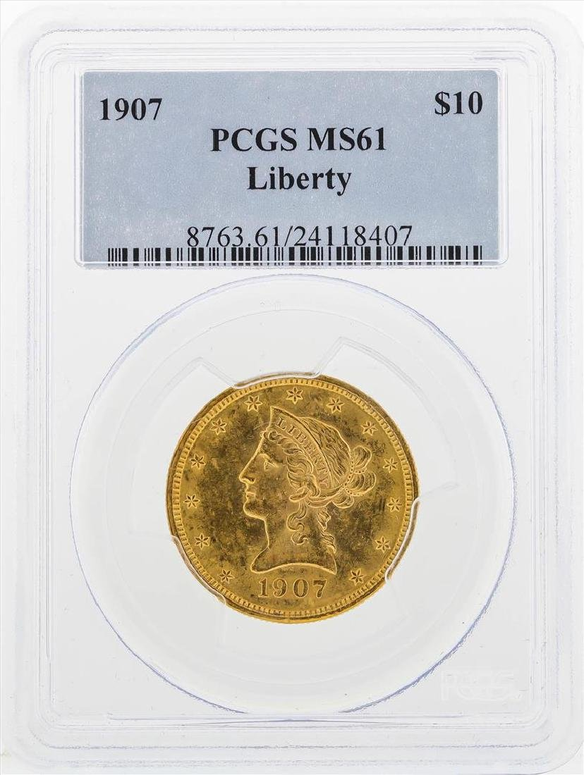 1907 $10 Liberty Head Eagle Gold Coin PCGS MS61