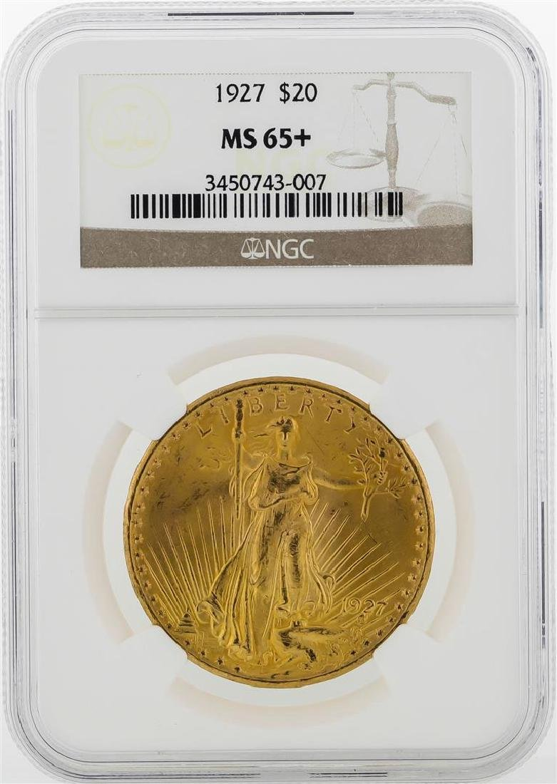 1927 $20 St. Gaudens Double Eagle Gold Coin NGC MS65+
