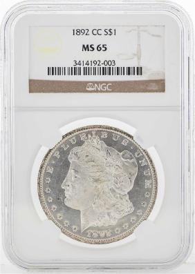 1892-CC $1 Morgan Silver Dollar Coin NGC MS65
