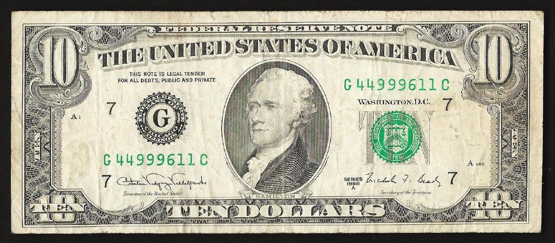 1988A $10 Federal Reserve Note ERROR Partial Offset - 2