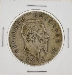1875 Italy 5 Lira Silver Coin