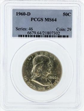 1959-D Franklin Silver Half Dollar Coin NGC MS64