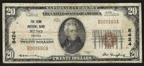 1929 $20 Reno Nevada National Currency Bank Note CH#