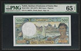 1977 Tahiti 500 Francs Currency Note PMG Gem