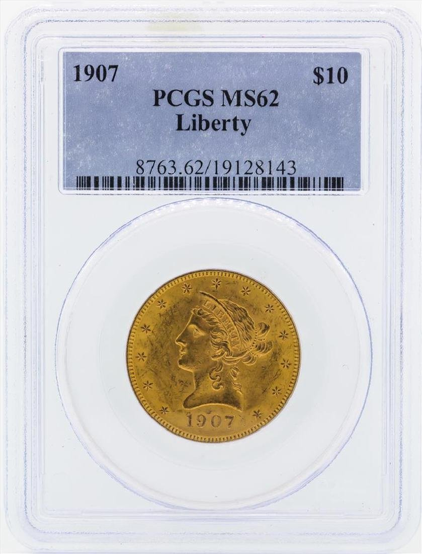 1907 $10 Liberty Head Eagle Gold Coin PCGS MS62