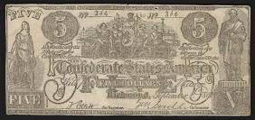 1861 $5 The Confederate States of America Note