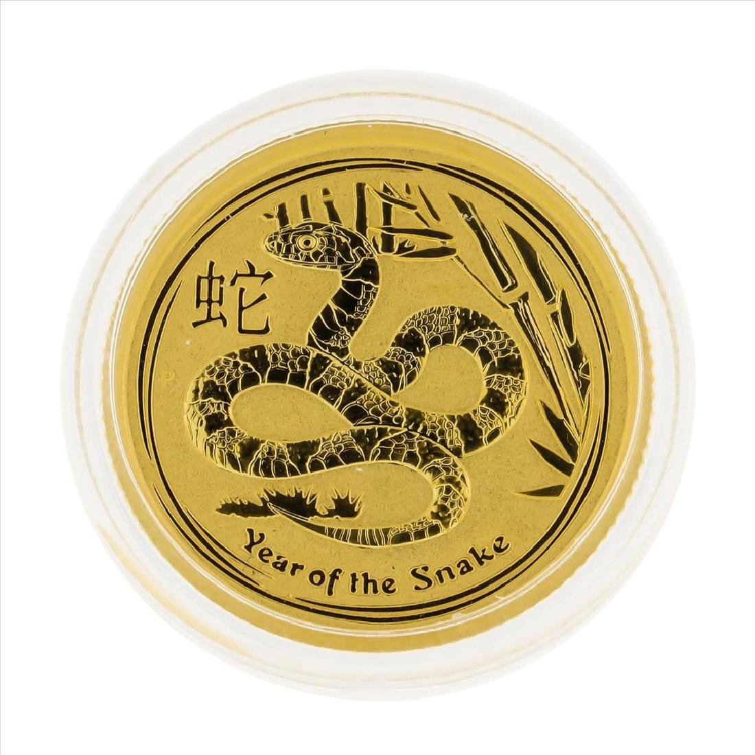 2013 $15 Australia 1/10 oz Lunar Year of the Snake Gold
