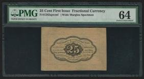 25 Cent First Issue Fractional Currency Note Wide