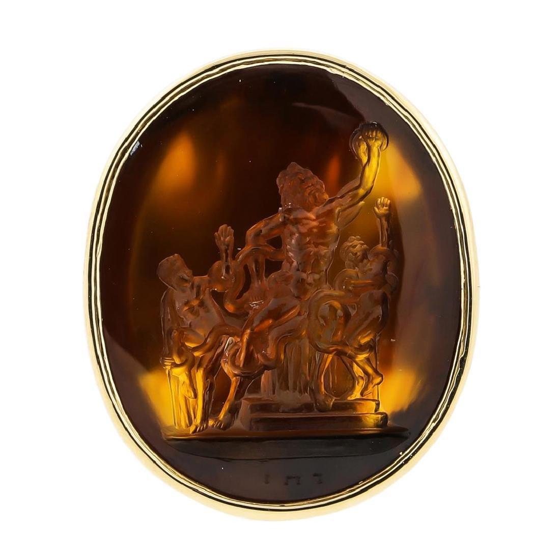 14KT Yellow Gold Amber Pendant