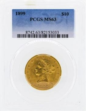 1899 $10 Liberty Head Eagle Gold Coin PCGS MS63