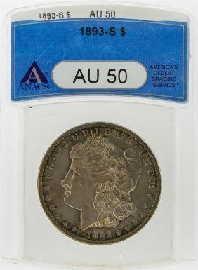 1893-S $1 Morgan Silver Dollar Coin ANACS Graded AU50