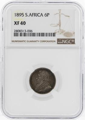 1895 South Africa 6 Pence Coin NGC XF40