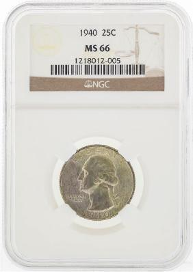 1940 Washington Silver Quarter Coin NGC MS66