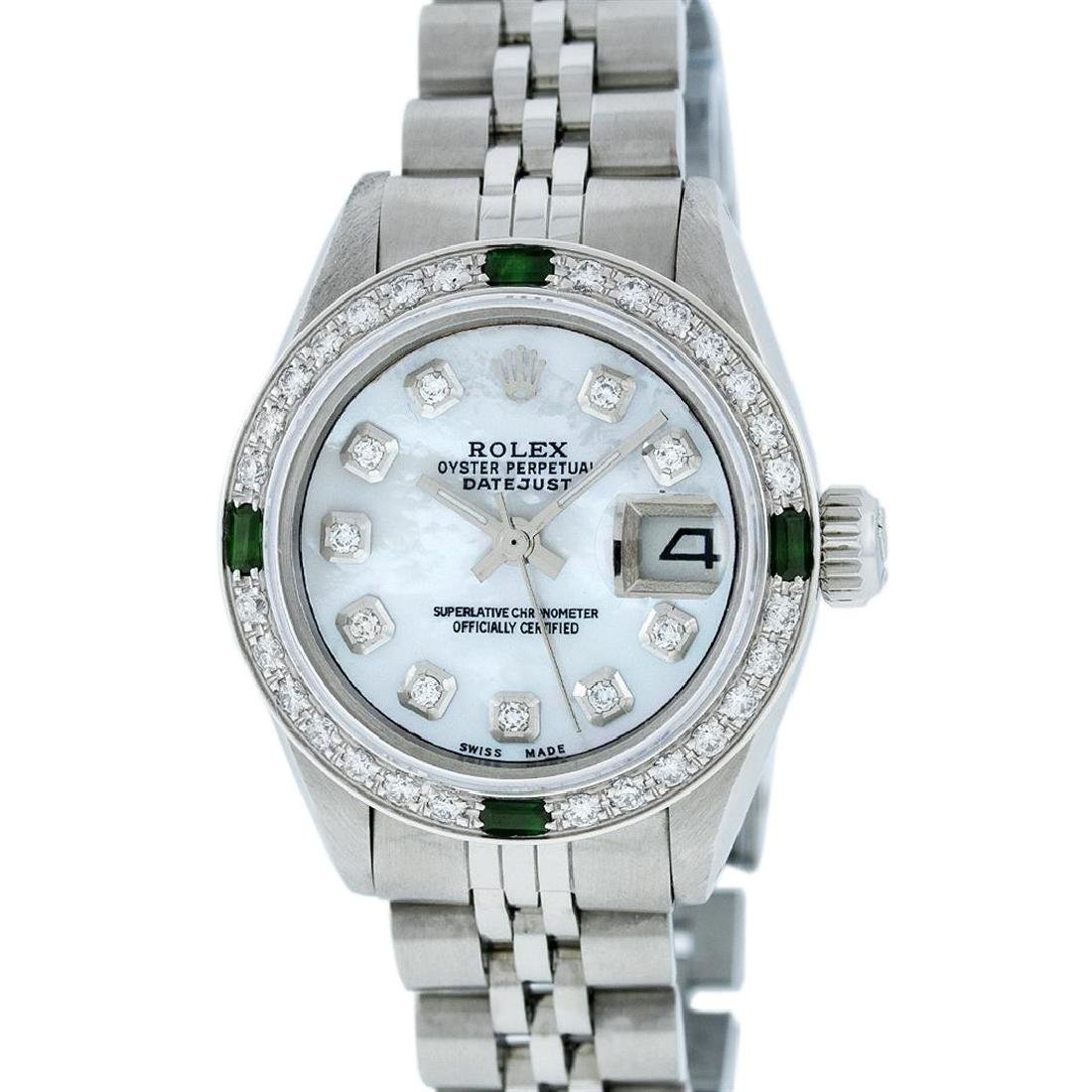 Rolex Stainless Steel Ladies Emerald and Diamond
