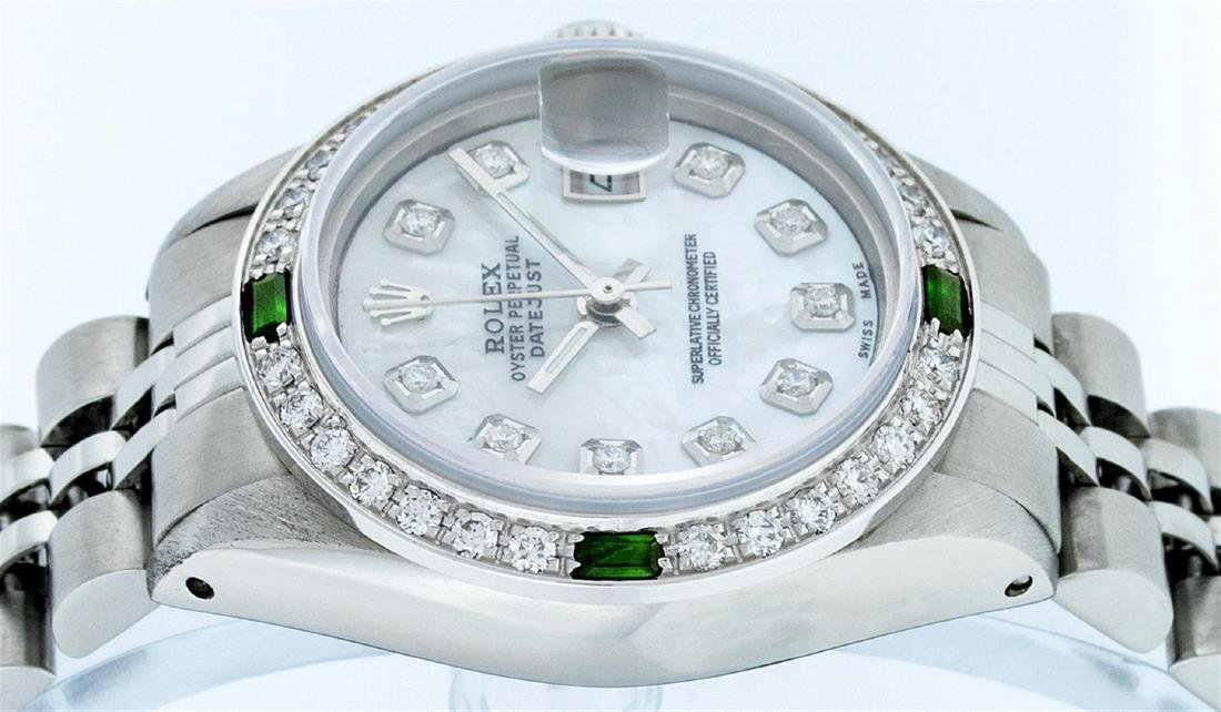 Rolex Stainless Steel Ladies Emerald and Diamond - 2