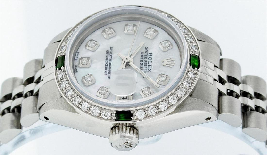 Rolex Stainless Steel Ladies Emerald and Diamond - 3