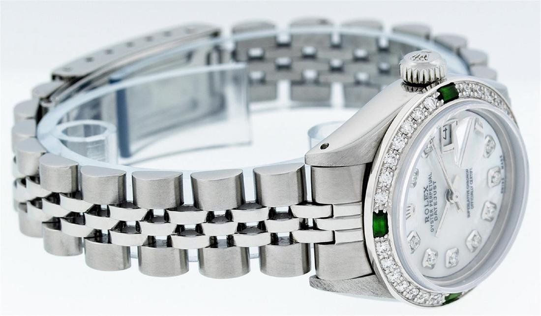 Rolex Stainless Steel Ladies Emerald and Diamond - 4
