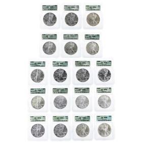 1986-2003 $1 American Silver Eagle Coin Set ICG MS69