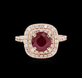 14KT Rose Gold 2.03ct Ruby and Diamond Ring