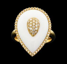 14KT Rose Gold 4.56ct White Onyx and Diamond Ring
