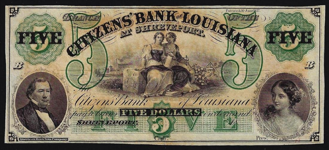1800s $5 Citizens Bank of Louisiana Obsolete Bank Note