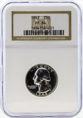 1942 Washington Proof Quarter Coin NGC PF64