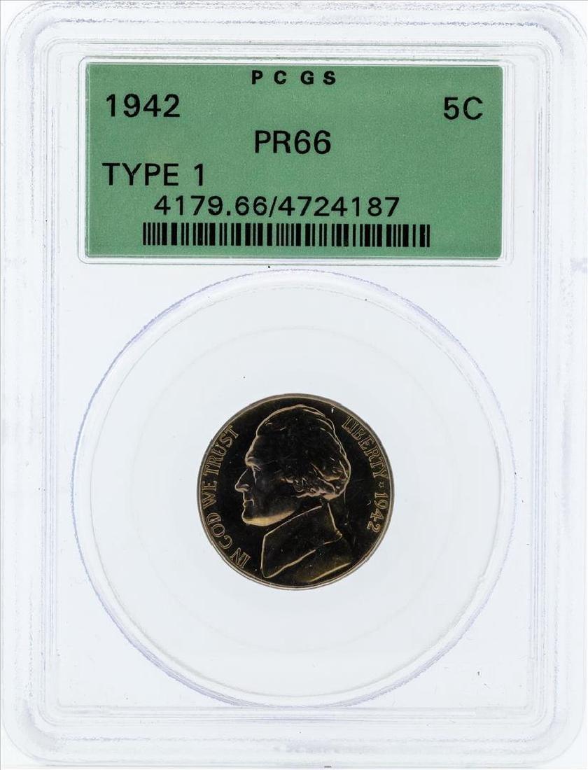 1942 Type 1 Jefferson Proof Nickel PCGS PR66