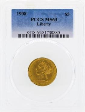 1908 $5 Libertry Head Half Eagle Gold Coin PCGS MS63