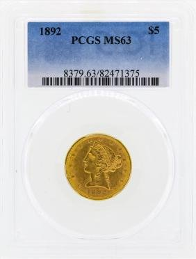 1892 $5 Libertry Head Half Eagle Gold Coin PCGS MS63
