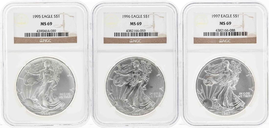 Set of 1995-1997 $1 American Silver Eagle Coins NGC