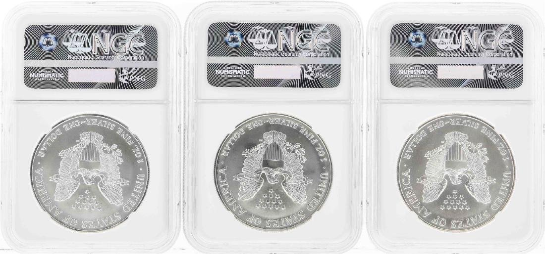 Set of 1995-1997 $1 American Silver Eagle Coins NGC - 2