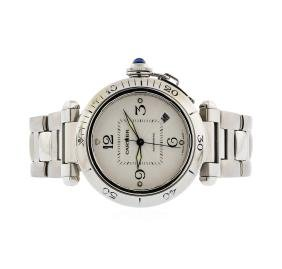 Mens Stainless Steel Cartier Pasha Automatic Wristwatch