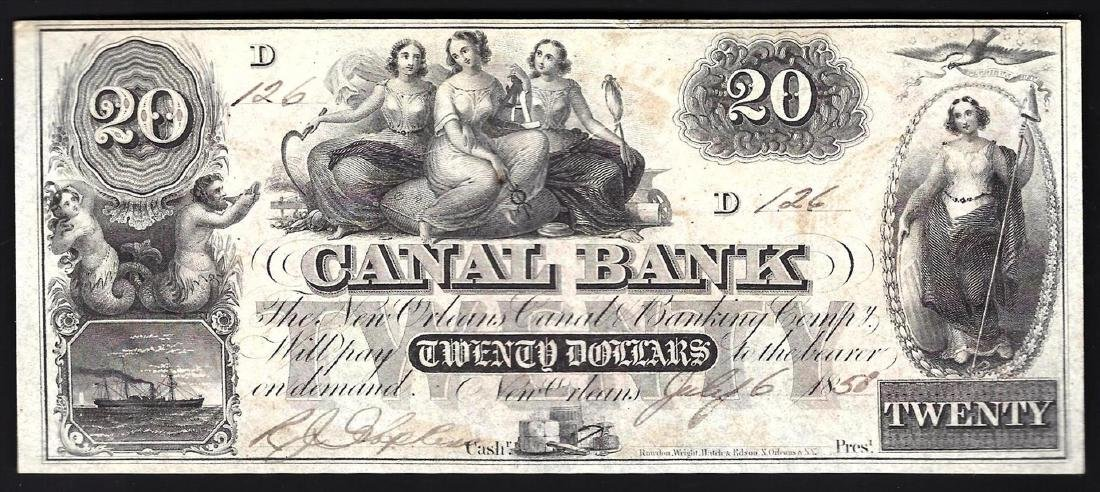 1858 $20 Canal Bank of New Orleans Obsolete Bank Note