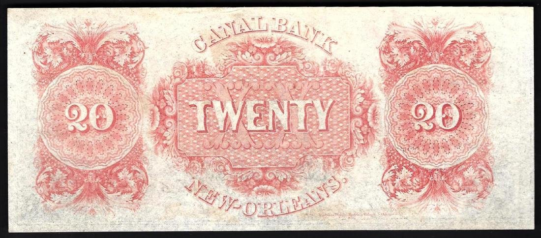 1858 $20 Canal Bank of New Orleans Obsolete Bank Note - 2