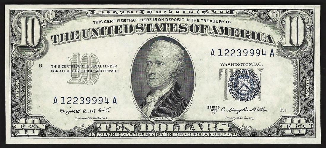 1953B $10 Silver Certificate Note