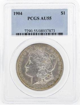 1904 $1 Morgan Silver Dollar Coin PCGS-AU55
