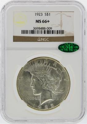 1923 $1 Peace Silver Dollar NGC Graded MS66+ CAC