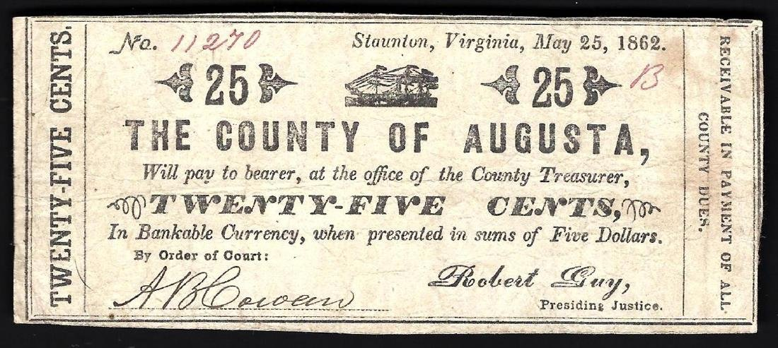 1862 25 Cents The County of Augusta Note