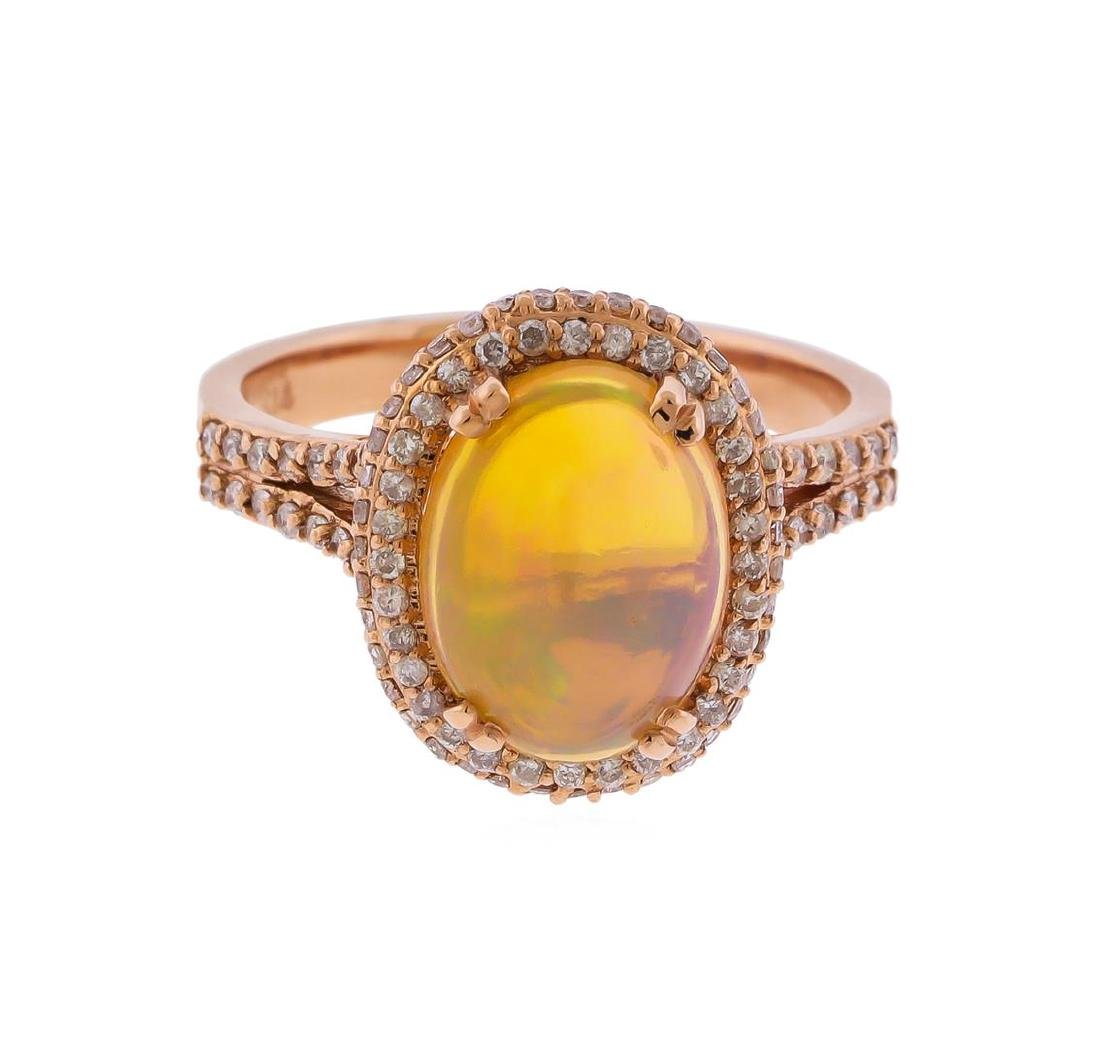 14KT Rose Gold 2.42ct Opal and Diamond Ring
