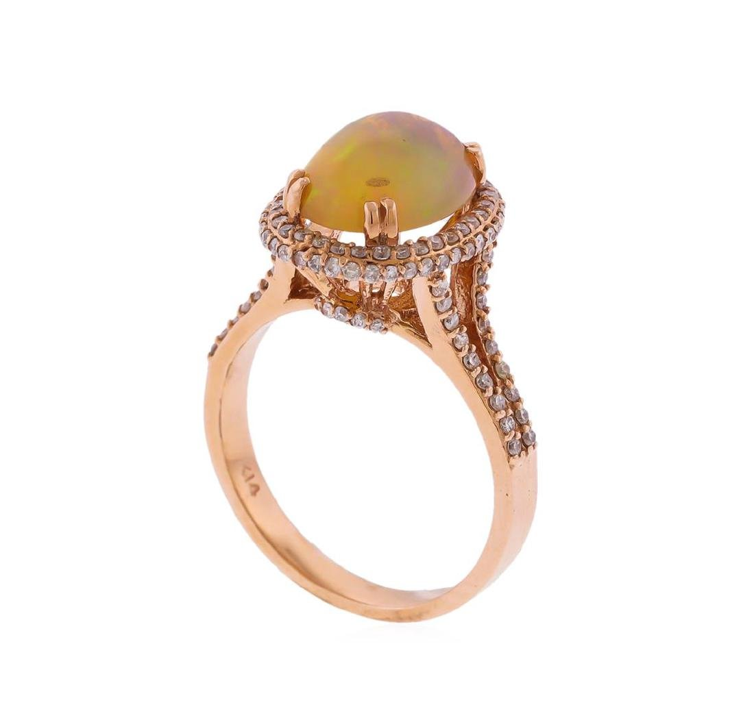 14KT Rose Gold 2.42ct Opal and Diamond Ring - 3