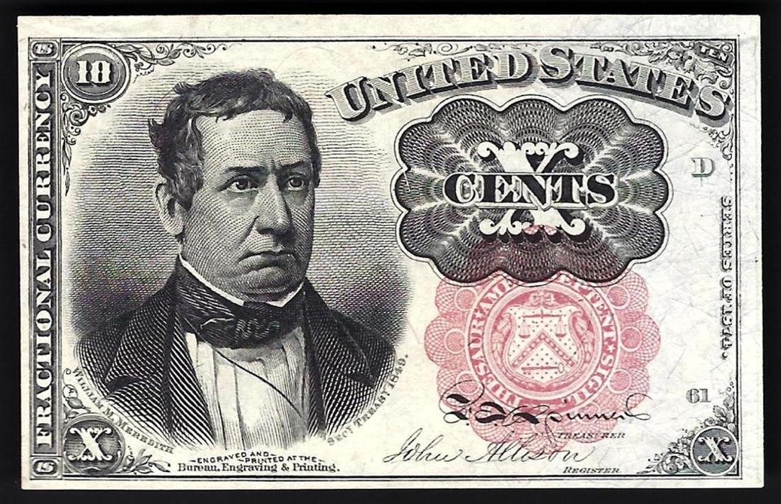 1874 10 Cent 5th Issue Fractional Note