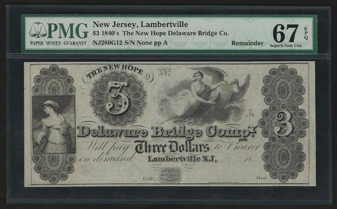 1840s $3 The New Hope of Delaware Bridge Co. Obsolete