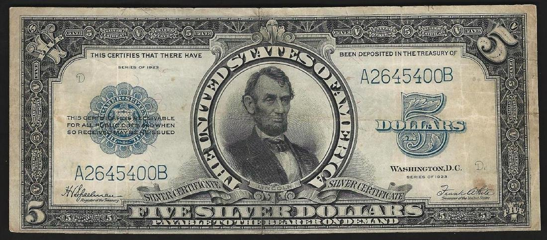 1923 $5 Silver Certificate Porthole Note