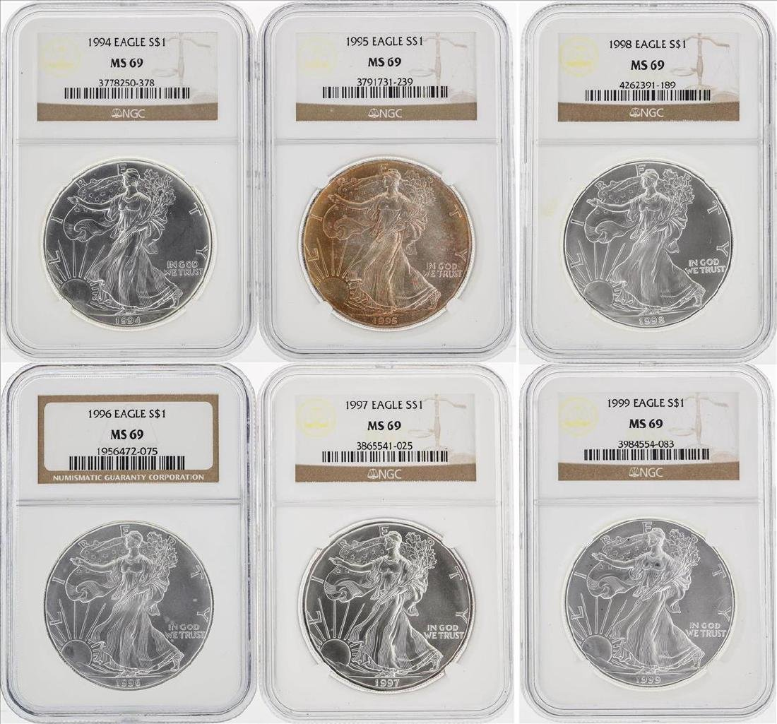1994-1999 American Silver Eagle Coins NGC MS69